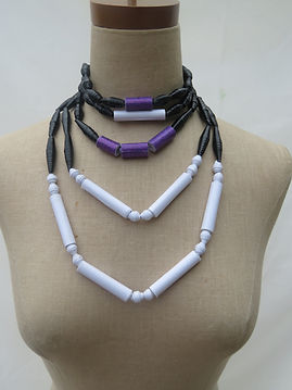 Paper Bead layered bead necklace