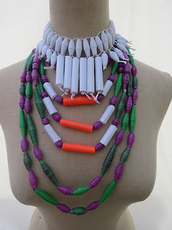 Paper Bead Statement choker w/ layered  paper beaded necklace