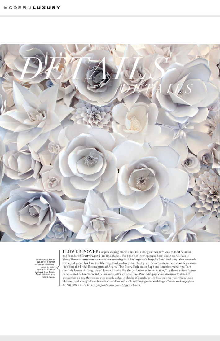 Pretty Paper Blossoms is thrilled to be featured in the latest issue of Modern Luxury Brides Atlanta