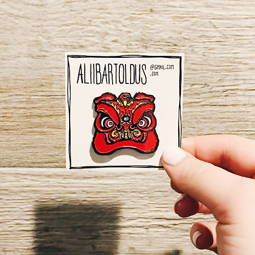 Red Chinese Lion Head Enamel Pin