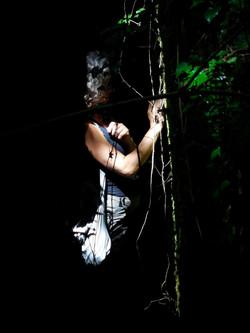 Cinzia filming in the woods