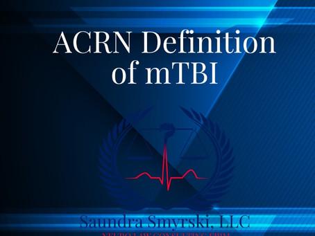 ACRN Definition of mTBI
