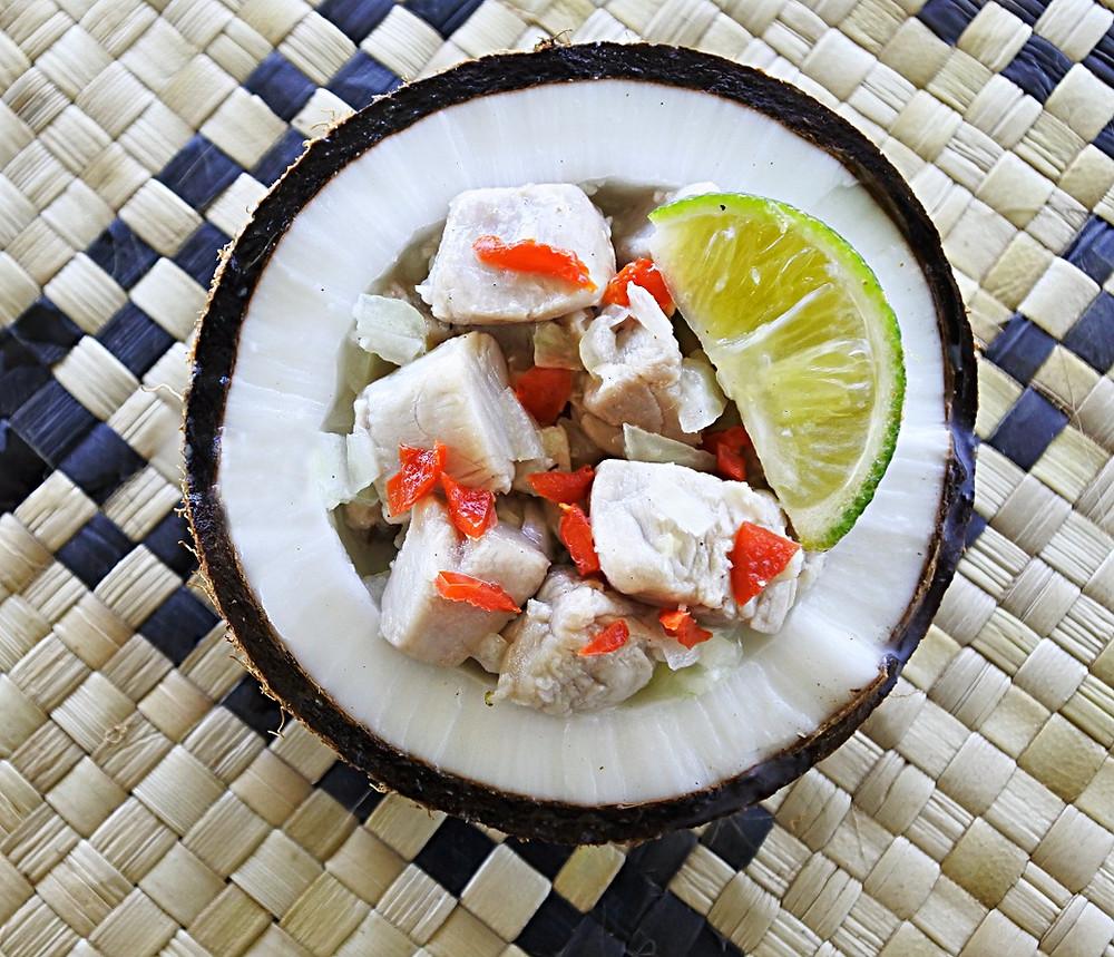 Fijian kokoda, served in coconut