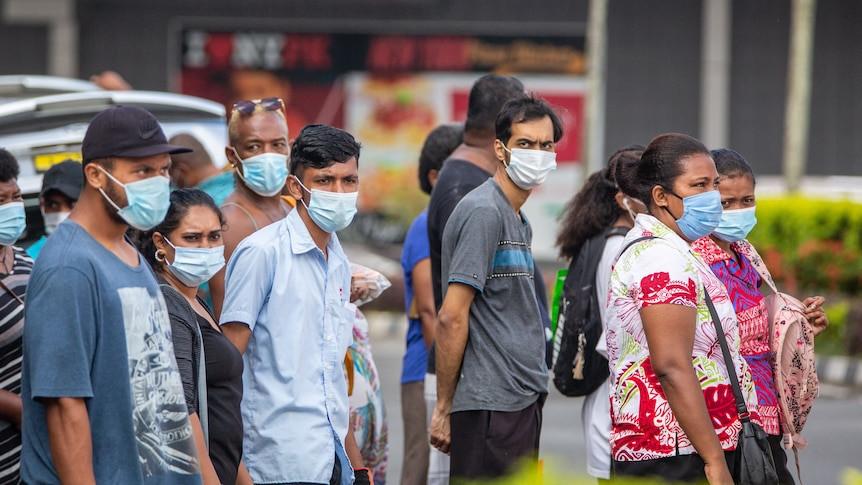 Shoppers wearing masks in Suva Fiji