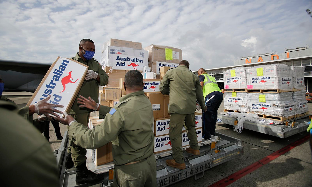 Unloading medical aid from Australia