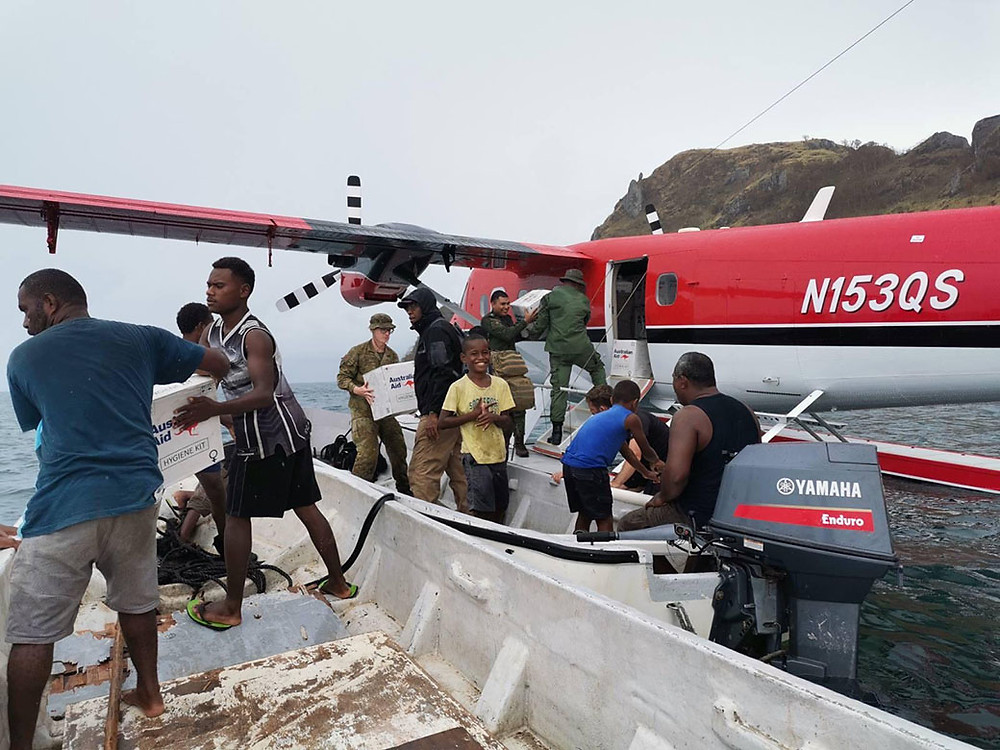 sea-plane delivers aid to village damaged by Yasa