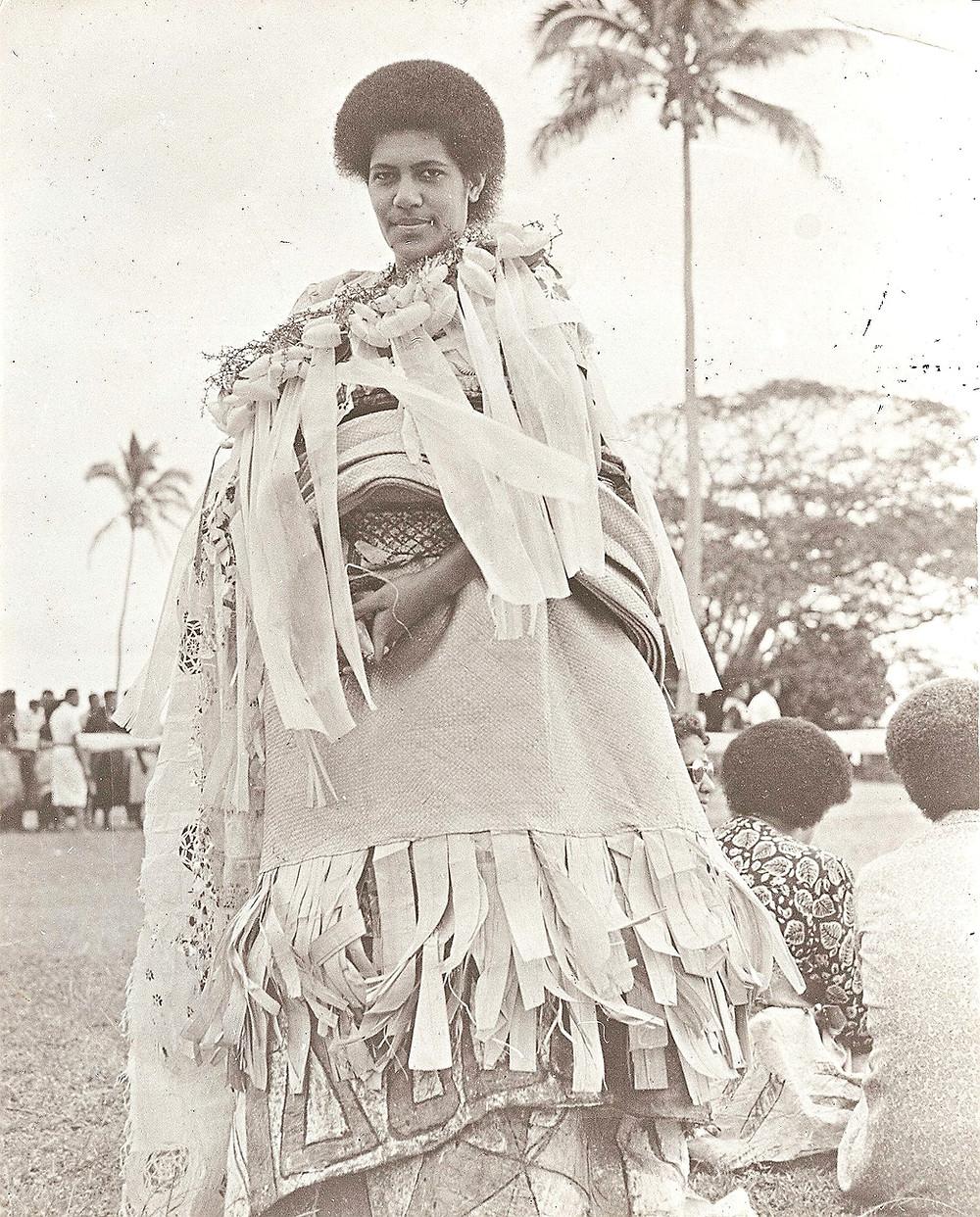 Paramount chief of Fiji wearing masi
