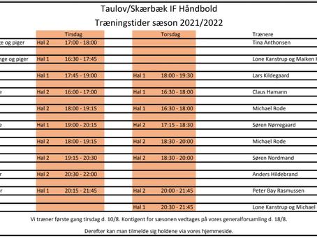 Træningstider sæson 2021/2022