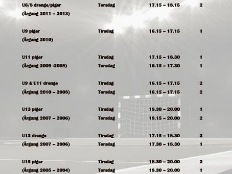 Træningstider 20019 - 2020