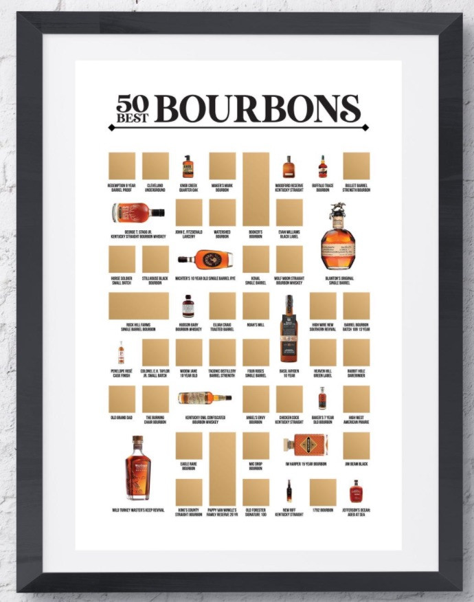 Scratch-off bourbon poster