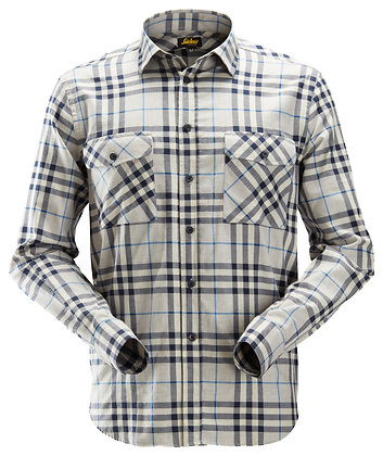 Snickers Workwear 8516 AllroundWork leichtes Baumwoll Flanellhemd in grau blau
