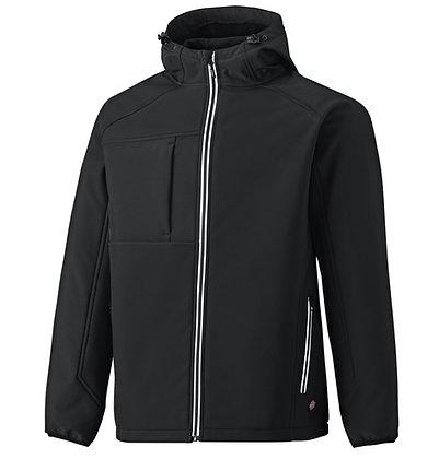 Dickies Workwear JW7023 TwoTone Hooded Softshelljacke, wasserdicht mit Kapuze in der Farbe schwarz