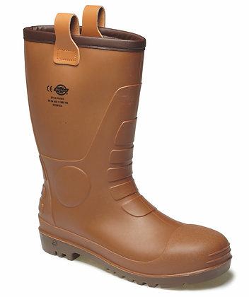 Dickies Workwear FW13200 Groundwater Sicherheitsstiefel S5 Gummistiefel in braun