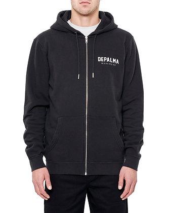 De Palma Workwear Logo Zip Hoodie in schwarz.