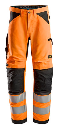 Snickers Workwear Warnschutzhose 6332 LiteWork High-Vis Arbeitshose+ Klasse 2 in orange
