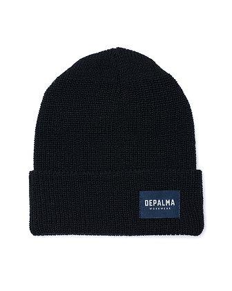 De Palma Highland Beanie in schwarz. Wintermütze aus 100% Wolle.