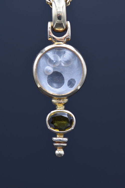 Key Concept with Carved Quartz Cabochon and Yellow Sapphire