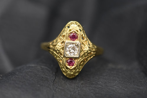 Filigree with Diamond and Rubies