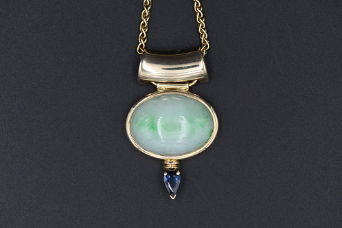 Key Concept with Green Jade and Blue Sapphire