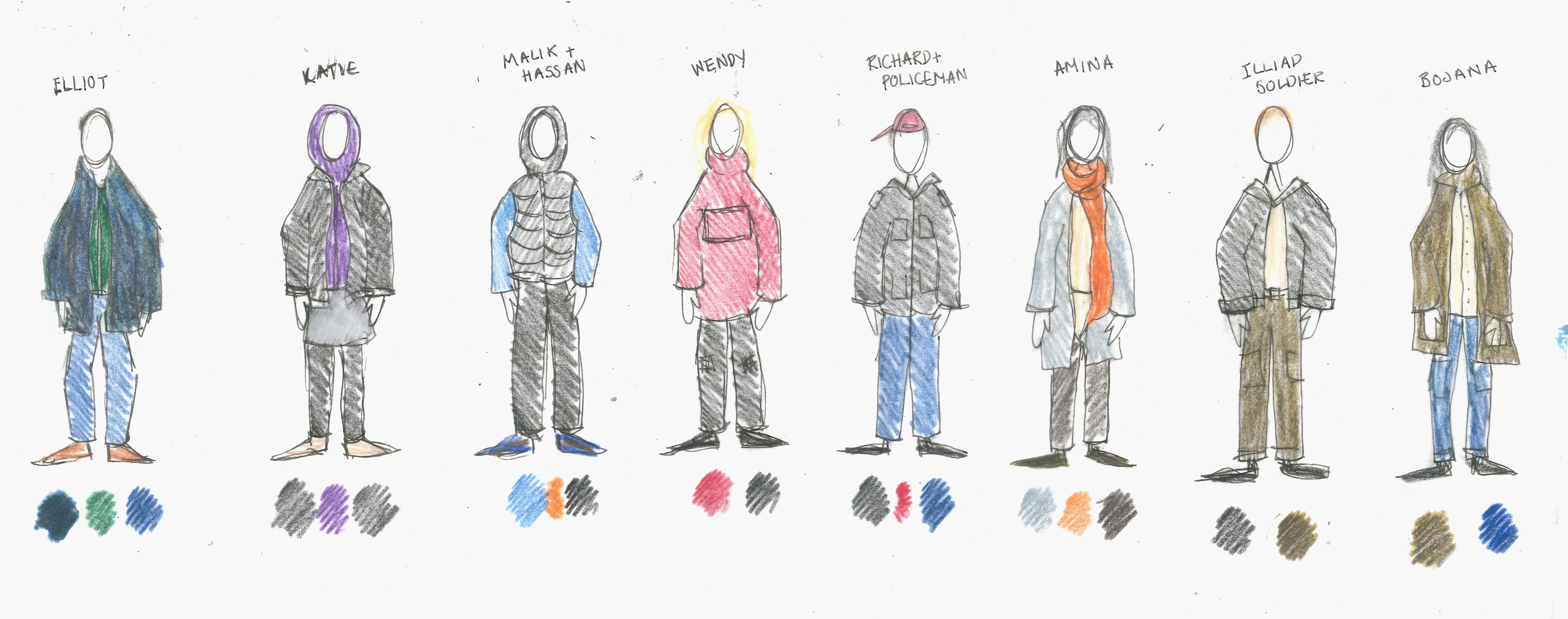 initial costume design sketches