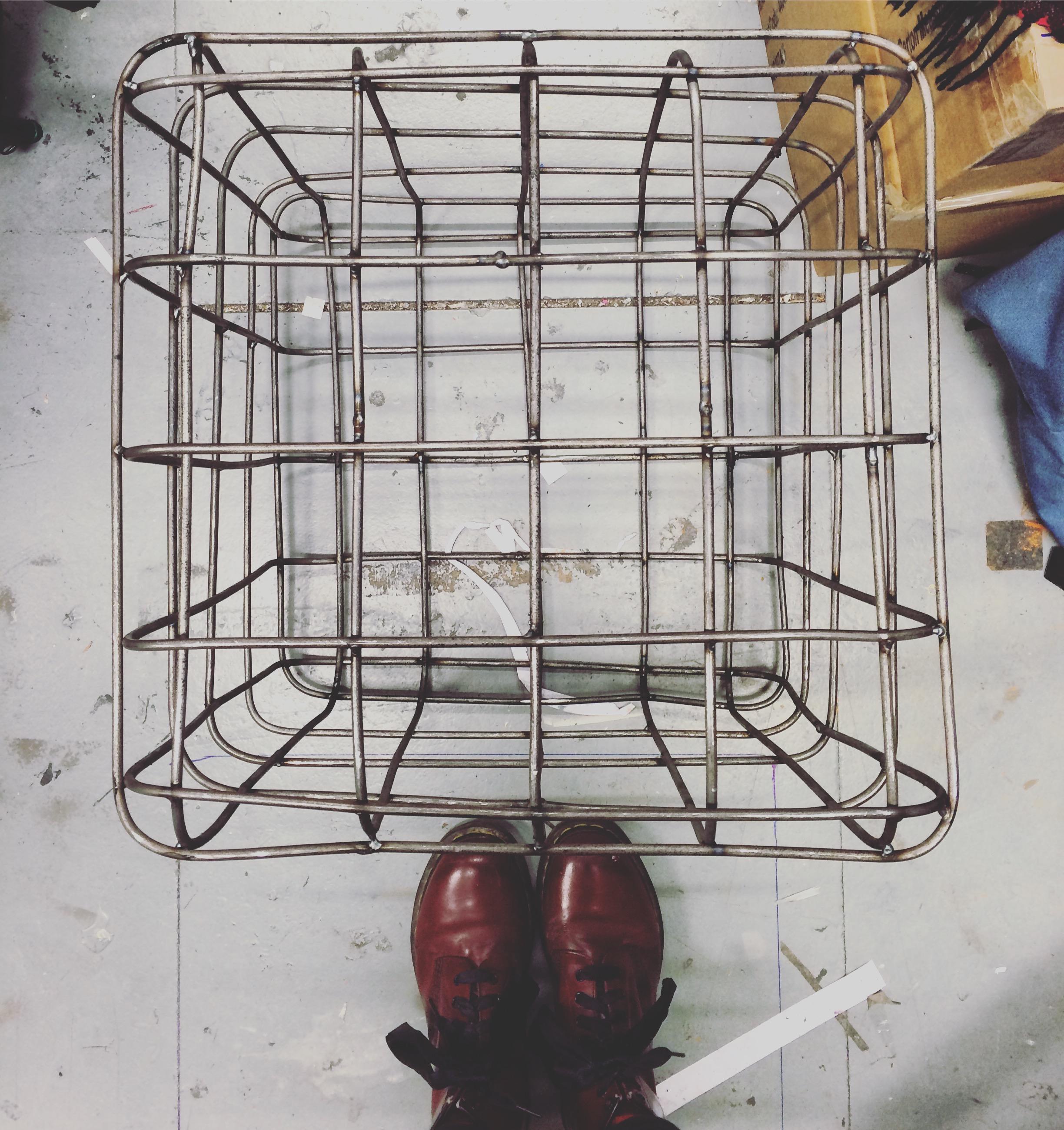 mock-up welded steel cube