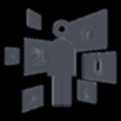 une personne au milieu des icons interactifs