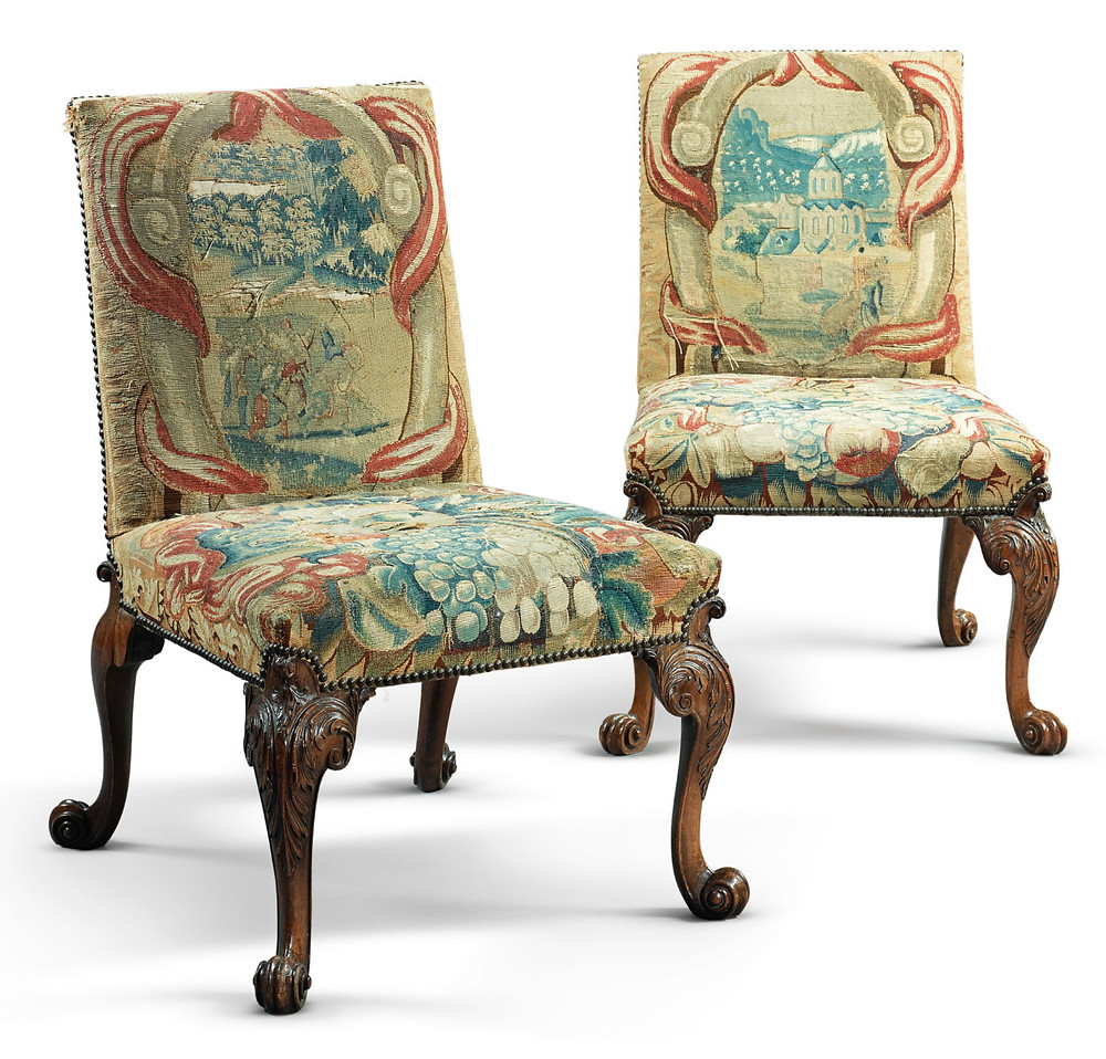 A pair of George II walnut side chairs attributed to Giles Grendey, circa 1745