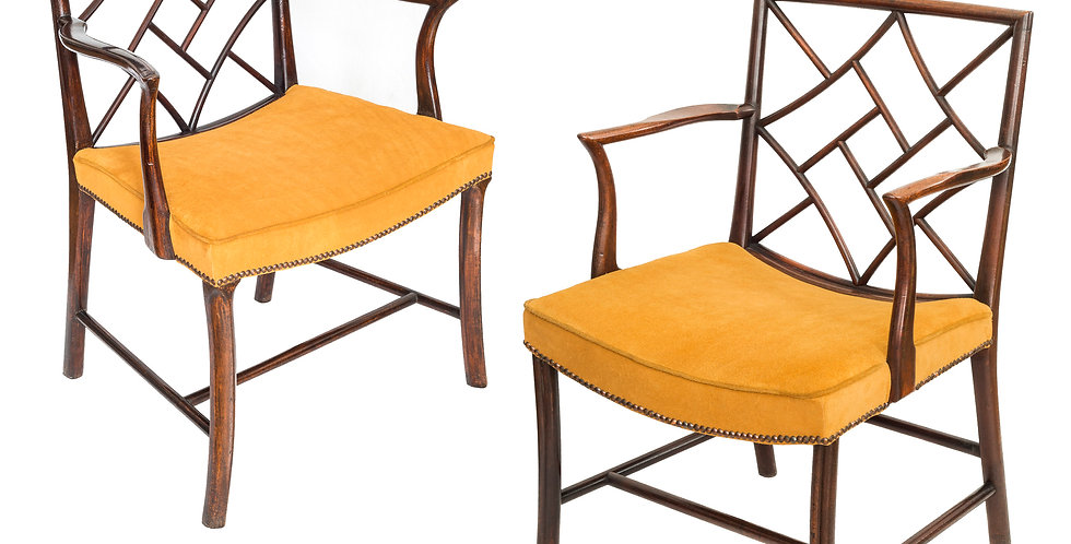 Close Pair Of George III Mahogany Cockpen Armchairs
