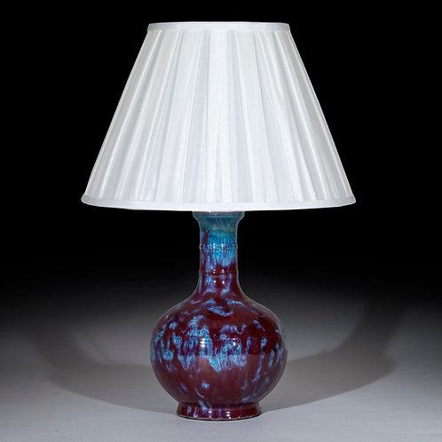 Chinese Export Flambe Glazed Vase Table Lamp
