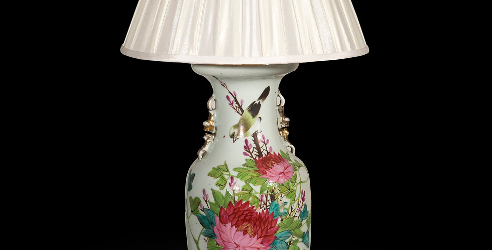 Antique Chinese Porcelain Vase Lamp with Peonies