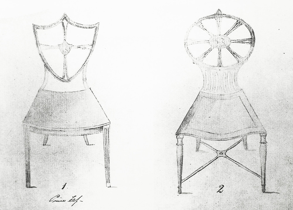 Gillows designs for hall chairs