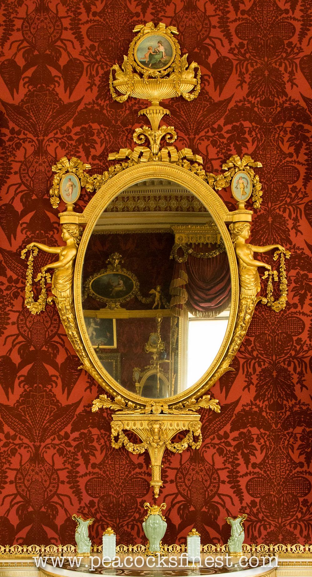 Harewood House, The Gallery. One of a pair of George III giltwood mirrors by Thomas Chippendale
