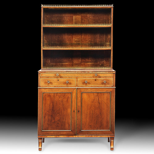 Fine George III Rosewood Brass Mounted Bookcase Cabinet
