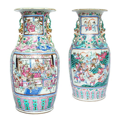 Close Pair of Large Chinese Famille Rose Vases