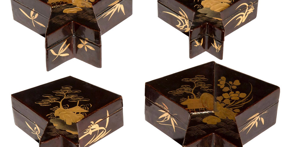 Set of Four 19th century Japanese Lacquer Boxes