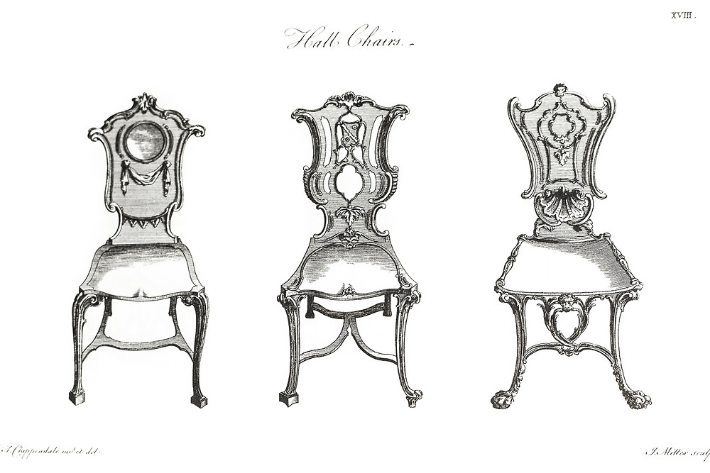 Thomas Chippendale designs for hall chairs, c. 1762