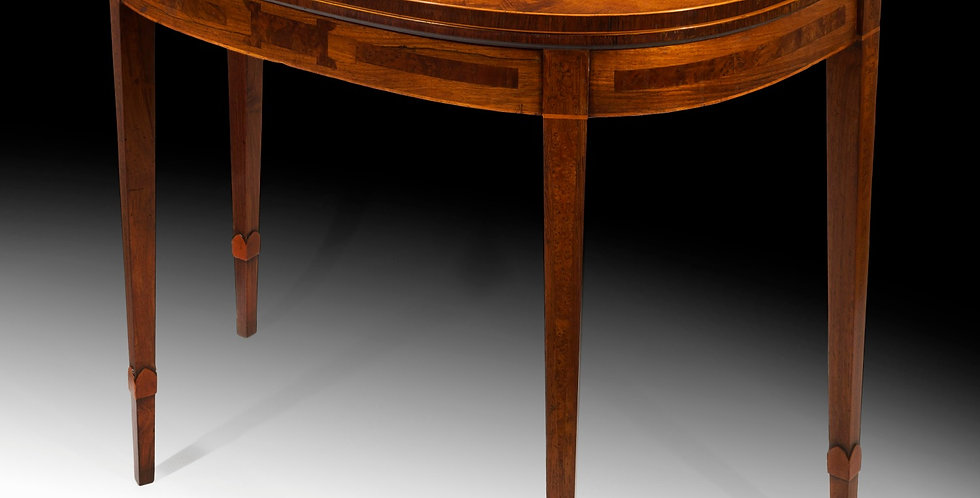 Fine George III Burr Yew and Fustic Inlaid Card Table