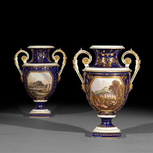 Set of Four Regency Derby Porcelain Neoclassical Vases