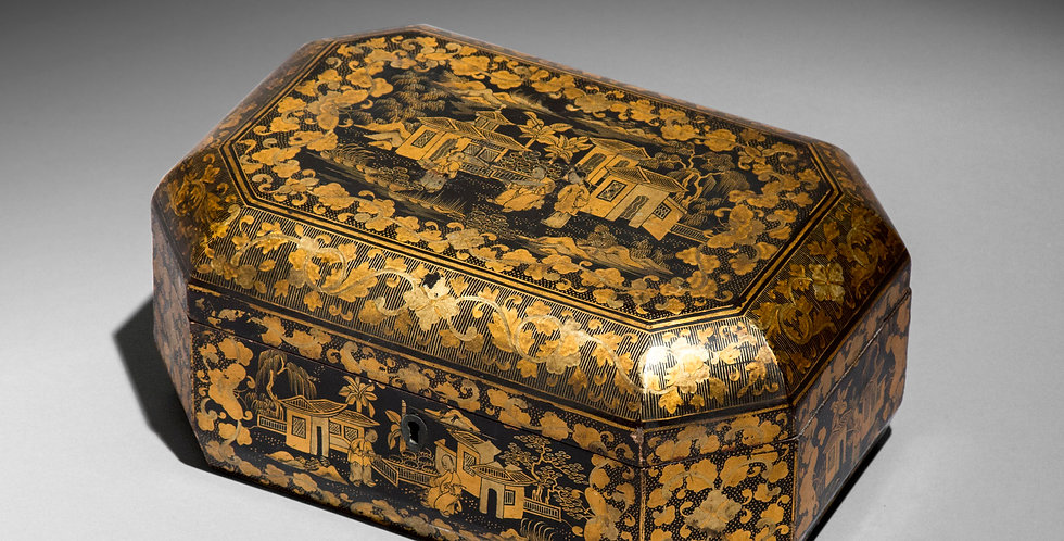 Antique Chinoiserie Lacquer Jewellery Box