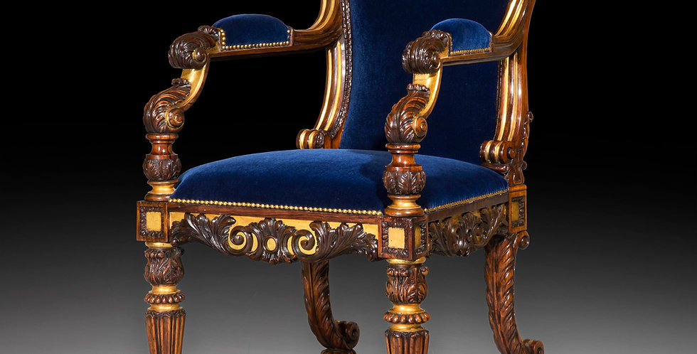 Antique Armchair in Rosewood and Gilt of Regency Period, attributed to Gillows