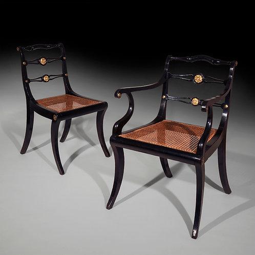 Set of Eight Regency Klismos Dining Chairs, by John Gee
