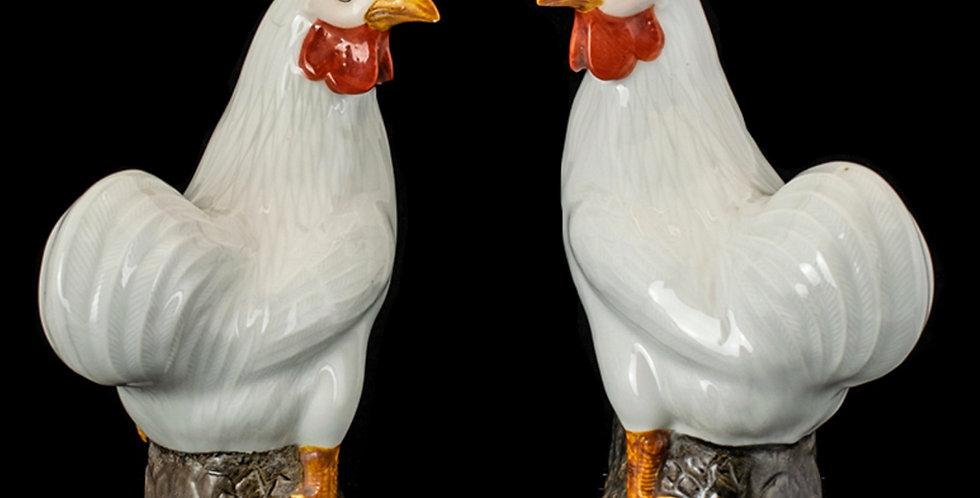 Pair of Chinese Export Cockerels
