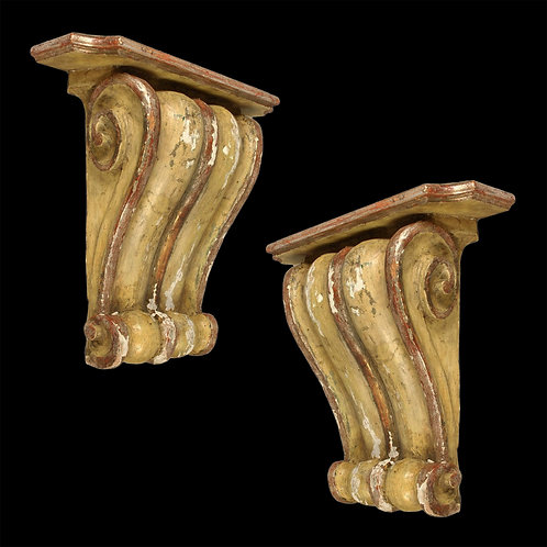 Pair of Large Italian Painted Wall Brackets