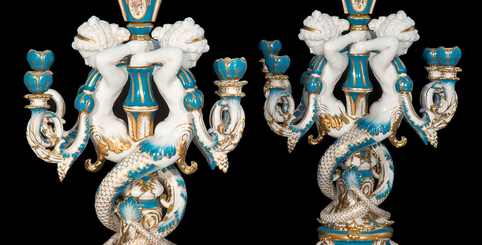 Large Pair of Minton Style Porcelain Candelabra