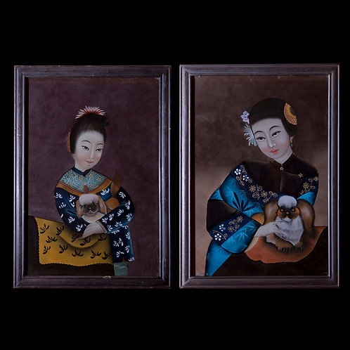 Pair of Antique Chinese Reverse Glass Portraits of Ladies with Dogs