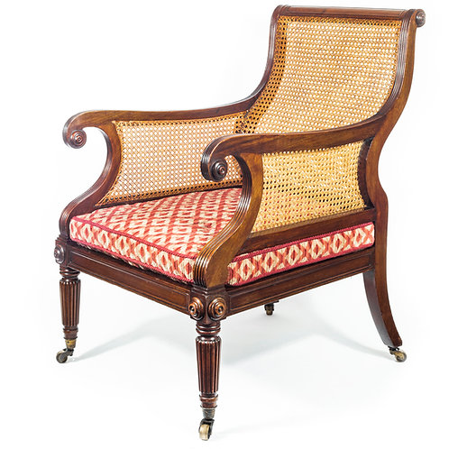 Fine Regency Mahogany Library Bergère Armchair Attributed to Gillows