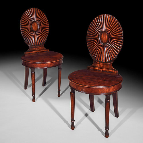 Fine Pair of George III Hall Chairs, Manner of Mayhew and Ince
