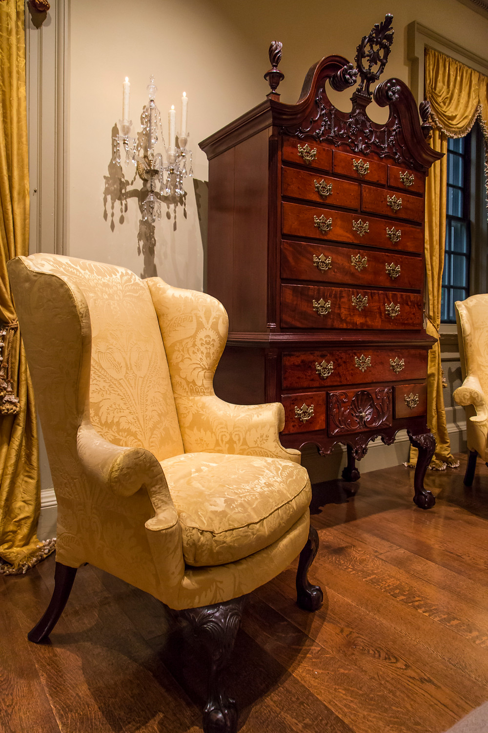 The Port Royal Parlor at Winterthur with the Turner-Van Pelt family high chest