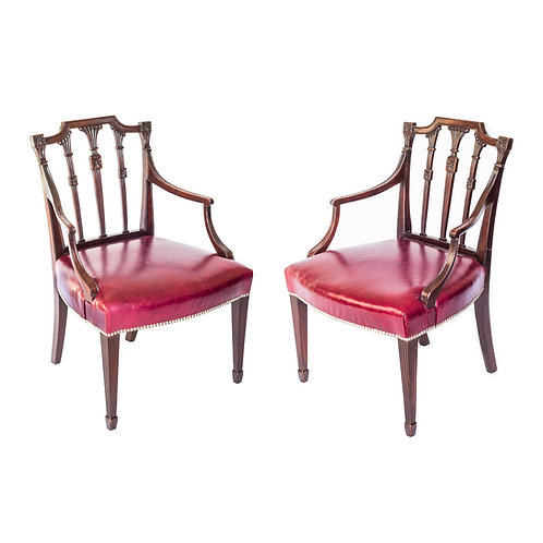 Pair of George III Mahogany Armchairs