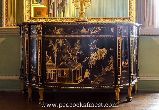 osterley park the state bedchamber a magnificent chinoiserie commode attributed to chippendale one of a suite comprising the commode and secretaire form